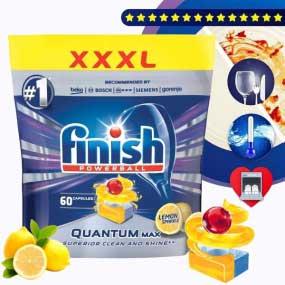 Viên rửa chén Quantum Max hương chanh Finish - 12 chức năng 60 viên